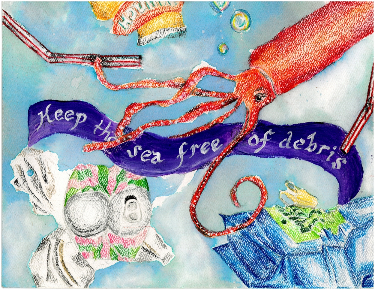Drawing of red squid with debris around it and a purple banner that reads'Keep the sea free of debris'.