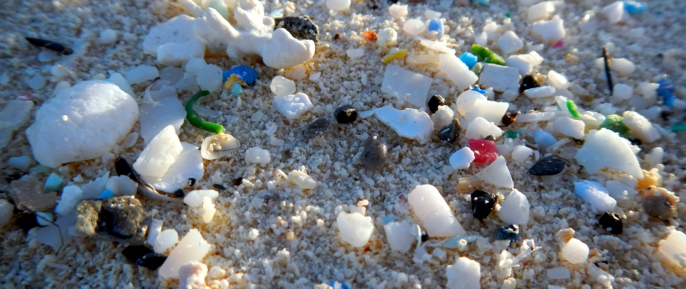 An image of microplastics on a beach.