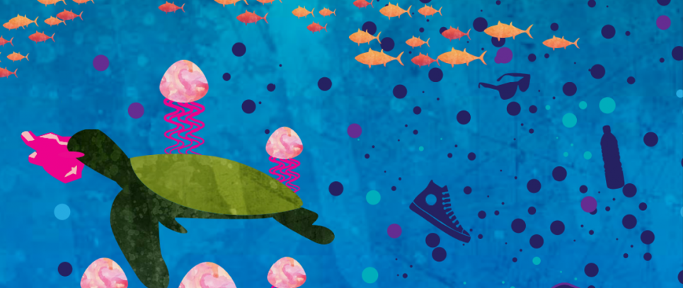 Graphic of sea creatures surrounded by marine debris and a sea turtle eating a plastic bag.