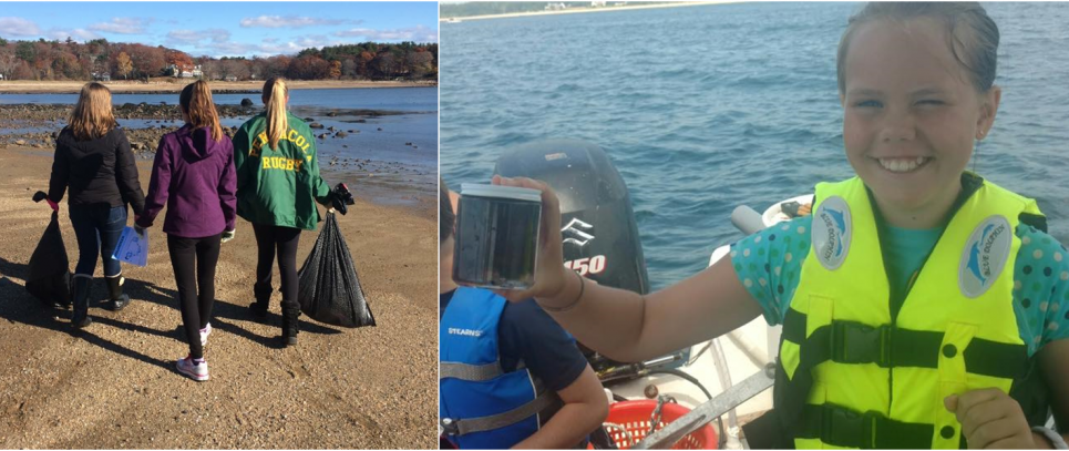 Students on a beach with bags of collected debris and a student on a boat with a surface water sample.