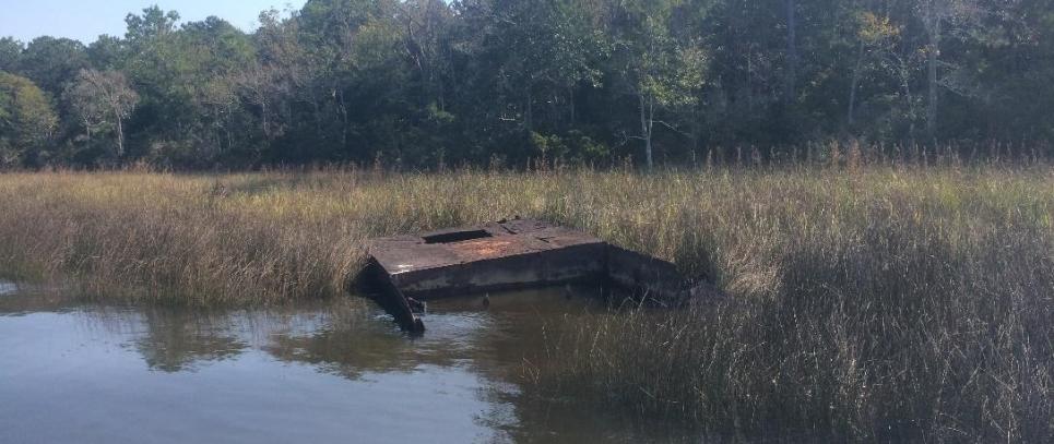 Derelict vessel stuck in marsh.