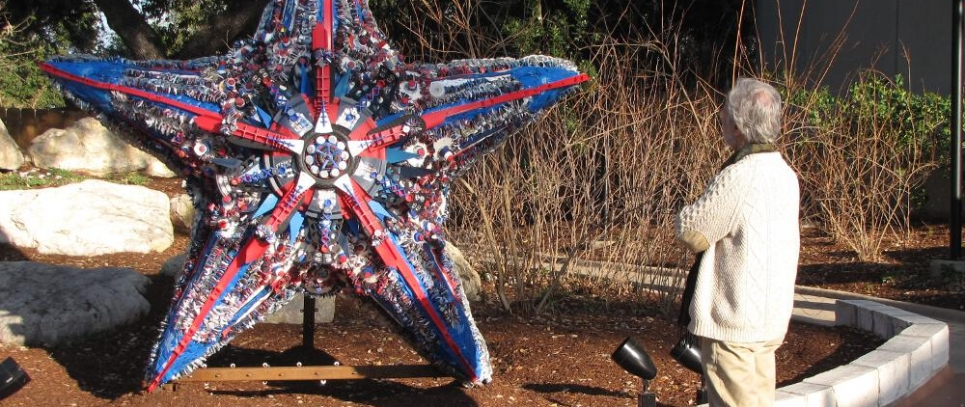 Washed Ashore art project made with marine debris.