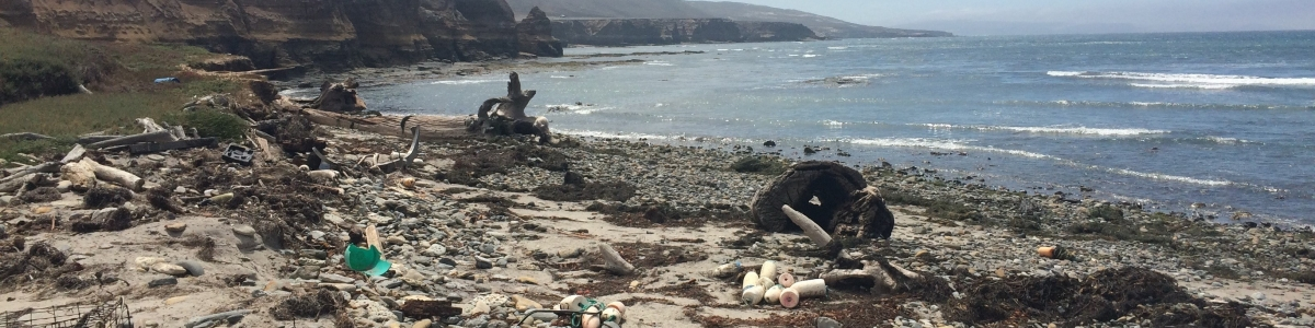 A rocky beach on Santa Rosa Island in California is littered with marine debris.