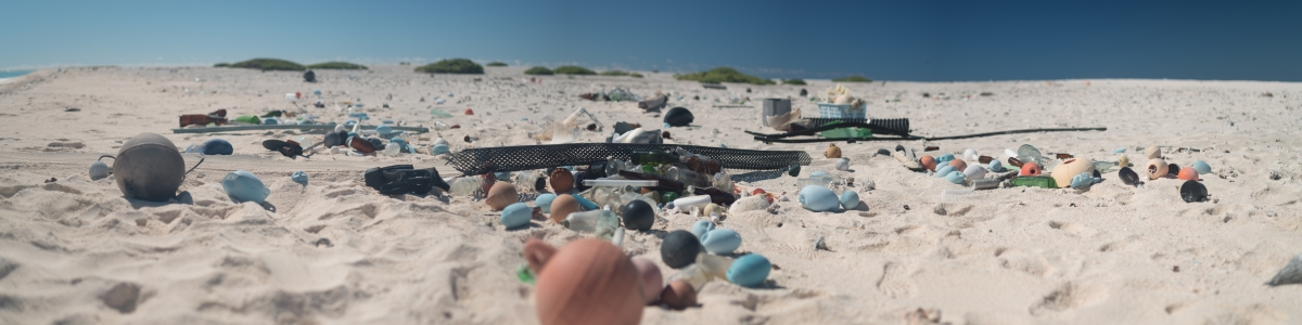 Marine debris strewn along the shore of Pearl and Hermes Atoll