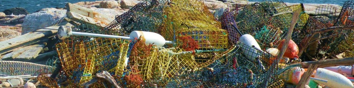 Lobster traps on the shoreline in New Hampshire.