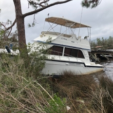 A derelict vessel in Panama City, Florida after Hurricane Michael