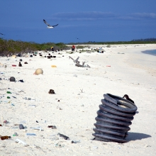 Debris along the eastern shoreline of Eastern Island. This photo is a before shot from the 2016 marine debris removal mission. (Photo Credit: NOAA PIFSC Coral Reef Ecosystem Program).