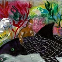 Artwork by Alice H. (Grade 2, Massachusetts), winner of the Annual NOAA Marine Debris Program Art Contest