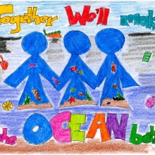 Artwork by Xhian R. (Grade 2, U.S. Virgin Islands), winner of the 2021 Annual NOAA Marine Debris Program Art Contest