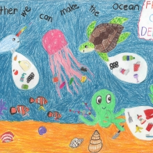 """Artwork of sea creatures collecting marine debris, with text that reads """"Together we can make the ocean Free of Debris""""."""