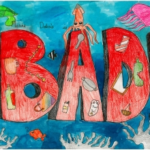 Artwork by Selina S. (Grade 3, Commonwealth of the Northern Mariana Islands), winner of the 2021 Annual NOAA Marine Debris Program Art Contest