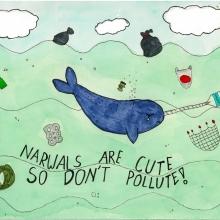 Artwork by Sabina W. (Grade 3, Washington), winner of the 2021 Annual NOAA Marine Debris Program Art Contest