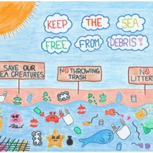 """Artwork of a beach covered in debris with signs reading """"Save our sea creatures,"""" """"No throwing trash,"""" and """"No littering"""" underneath the text """"Keep the sea free from debris!""""."""