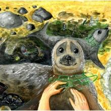 Artwork by Bohdan A. (Grade 6, Massachusetts), winner of the 2021 Annual NOAA Marine Debris Program Art Contest