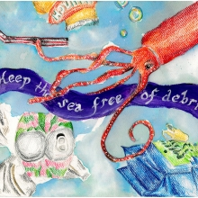 Artwork by Krishi P. (Grade 6, South Carolina), winner of the 2021 Annual NOAA Marine Debris Program Art Contest