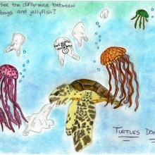 Artwork by Ceirra C. (Grade 7, Maryland), winner of the 2021 Annual NOAA Marine Debris Program Art Contest