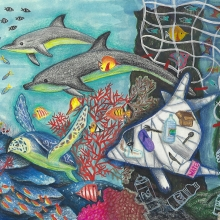 Artwork of creatures swimming through a coral reef away from a derelict net, accompanied by a dolphin filled with marine debris.