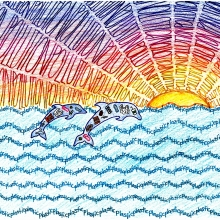 Artwork by Kate D. (Grade 8, Florida), winner of the 2021 Annual NOAA Marine Debris Program Art Contest