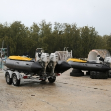 The two 17' inflatable Zodiac MKIV work boats used to remove marine debris from the shorelines of the Northwestern Hawaiian Islands.
