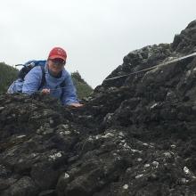 Chief Scientist, Amy Uhrin, conducting a shoreline marine debris monitoring survey at Seal Rock Beach, Washington.