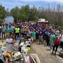 In 2018, 126 volunteers worked to remove more than 3,000 lbs of trash from mangrove shorelines of the St. Thomas East End Reserves, a marine protected area on St. Thomas Island.