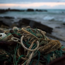A derelict fishing net washed up on the rocky shores of Sand Island, Midway Atoll.