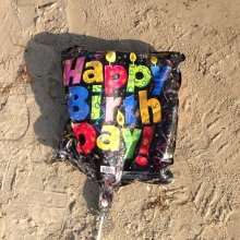 Mylar balloon found along the shoreline of the Great Lakes.