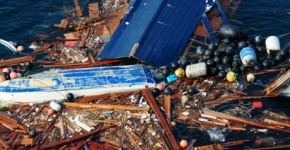 Marine debris after Japanese tsunami.