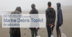 Four people on a foggy beach.