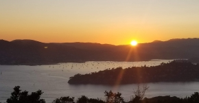 A view from high up looking over Richardson Bay in California during a sunrise.