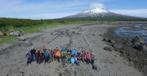 Students on beach on Alaska.