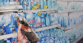A watercolor painting of plastic bottles on store shelves filled with water and fish. A hand is holding a bottle filled with polluted liquid and a fish.