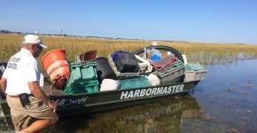 Boat full of marine debris.