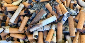 A pile of sandy cigarette butts.