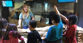Children learn about marine debris at the Santa Barbara museum.