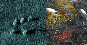 A side-scan sonar image on the left and a photo of derelict lobster pots on the right.