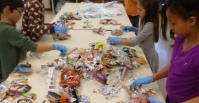 Students sorting trash.