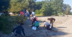 Students cleaning up debris on a beach.
