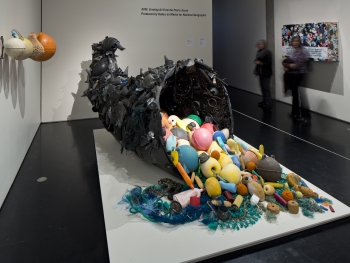 Debris is displayed in the Anchorage Museum.