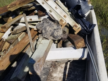 Hurricane Florence debris collected in the coastal marshes of North Carolina.