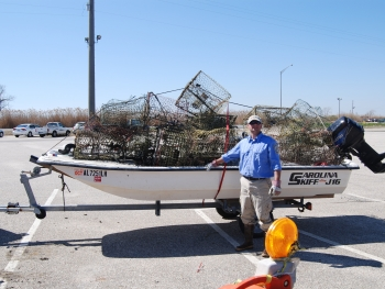 A pile of collected derelict crab traps. (Photo Credit: Alabama Department of Conservation and Natural Resources)