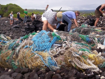 Marine debris cleanup near South Point on the Island of Hawaii