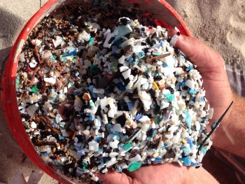 Bucket of microplastics (Photo: Sustainable Coastlines Hawaii).