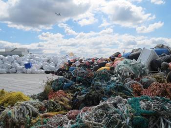 Barge carrying marine debris from Alaska's shorelines.