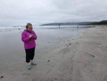 NOAA MDP's Research Coordinator counting debris on a beach.