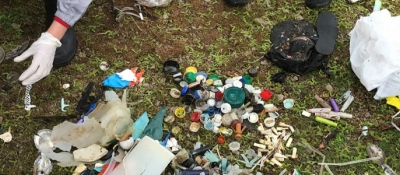 Marine debris collected in a cleanup by Girl Scouts.