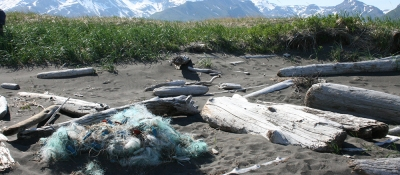 A derelict net rests on a remote Alaskan shoreline.
