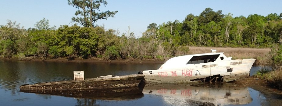Derelict vessel in Dog River, Alabama