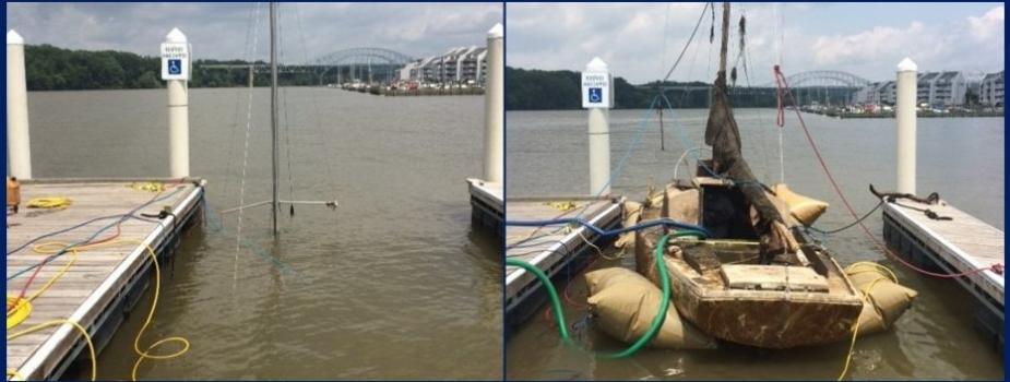 Sunken sailboat raised in a Maryland marina.