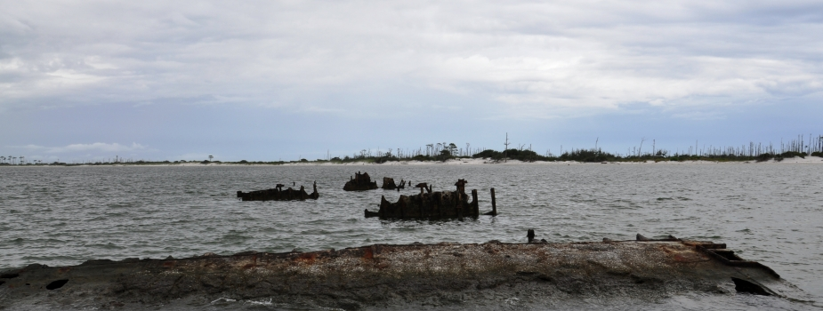 Derelict barge off of Horn Island.
